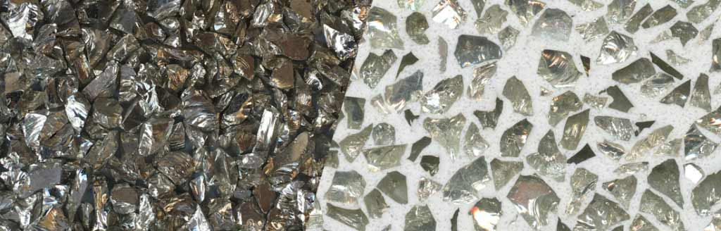 Silver Coated Clear Glass Aggregate