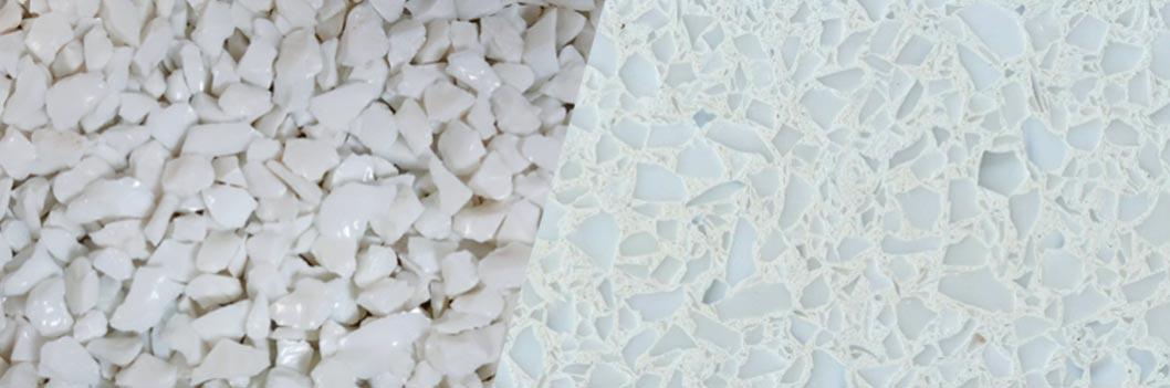 TERRAZZCO Solid White Glass Terrazzo Sample