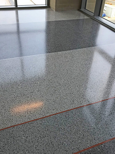 Terrazzo Floorings with Plastic Divider Strips at Hospital Entrance