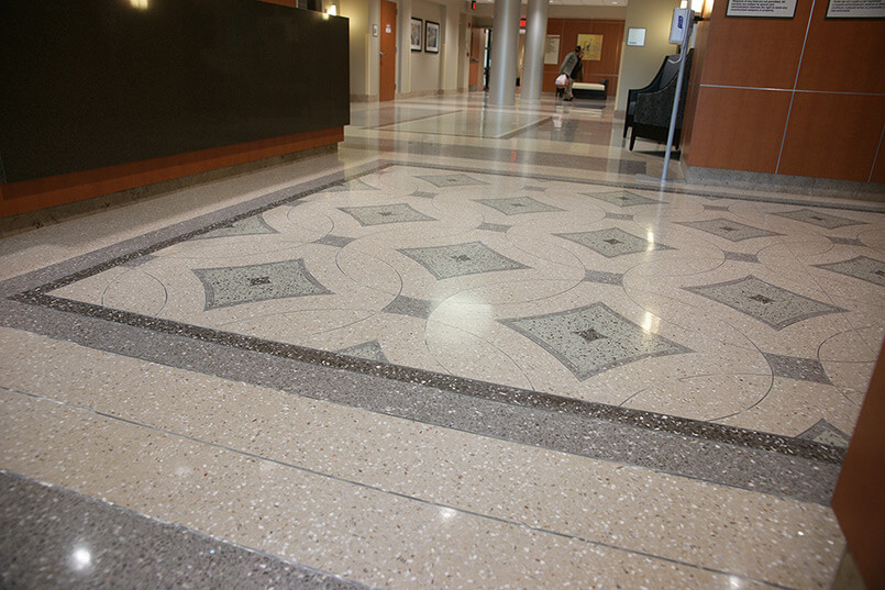 South Bay Hospital - Zinc Divider Strips in Terrazzo Floors