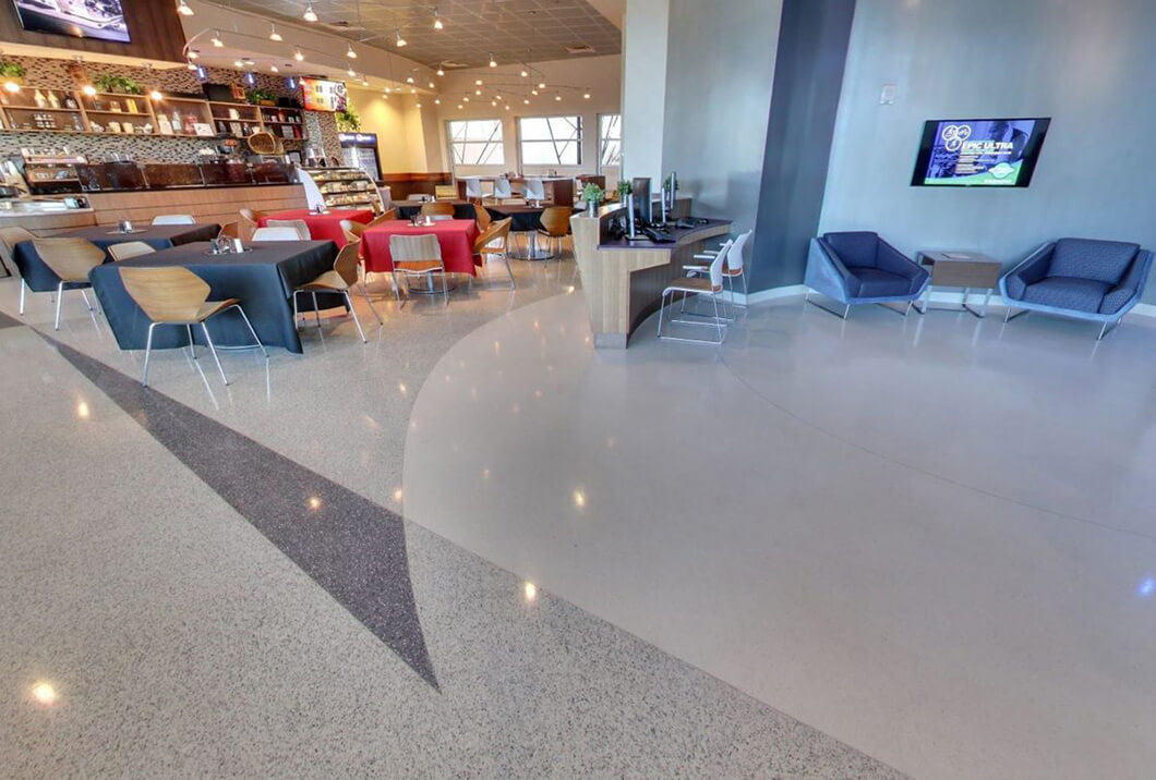 Dining Facility using TERRAZZCO Epoxy terrazzo system for low maintenance and durability