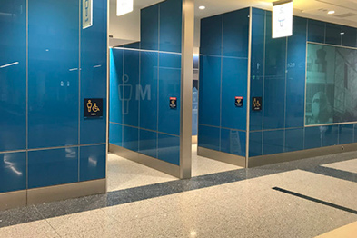 Restrooms with Antimicrobial Terrazzo Flooring