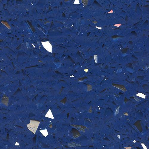 Exotic Terrazzo Sample #1940 - Blue Terrazzo with Plate Mirror Glass